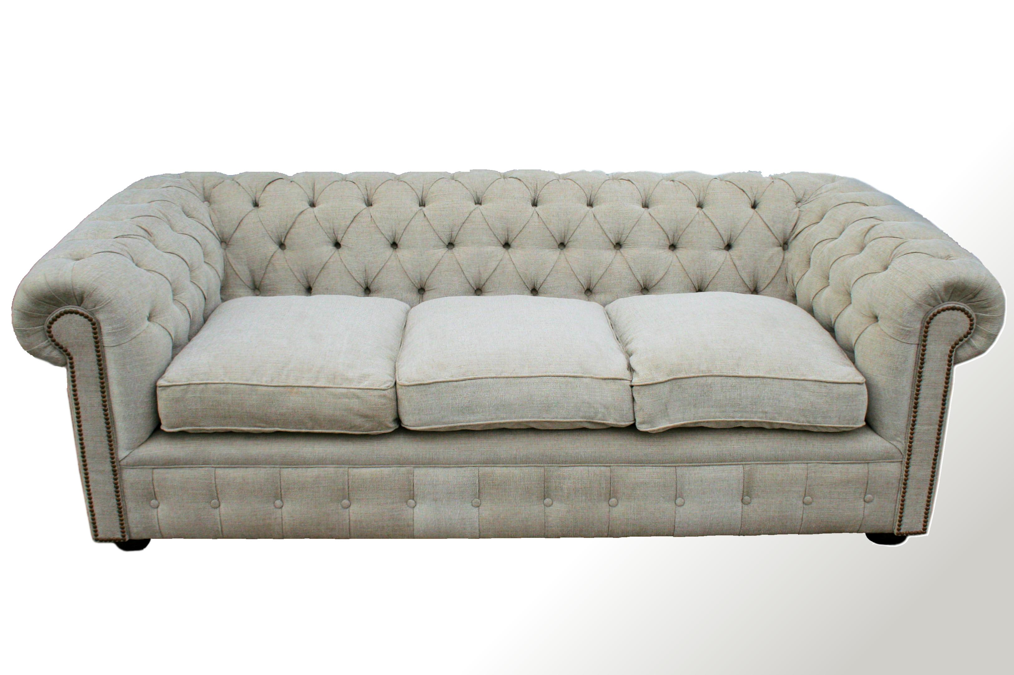 Sof chesterfield 3 cuerpos en lino chesterman a for Sofa 3 cuerpos akita
